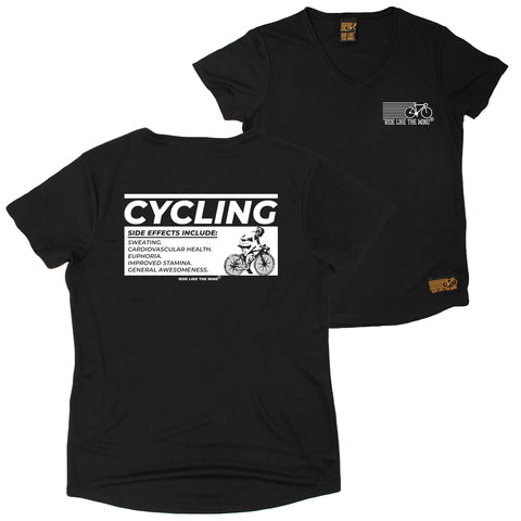 FB Ride Like The Wind Womens Cycling Tee - Side Effects - V Neck Dry Fit Performance T-Shirt