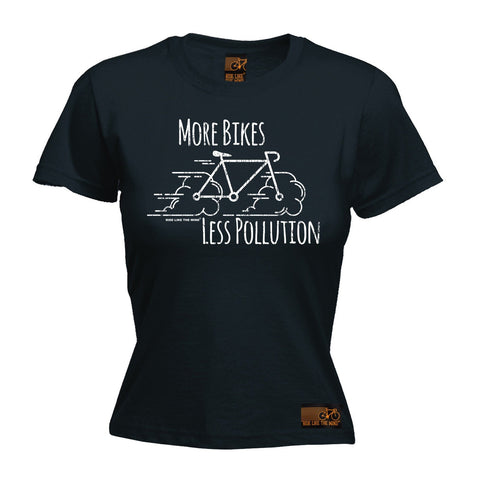 Ride Like The Wind Women's More Bikes Less Pollution Cycling T-Shirt