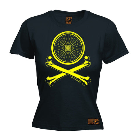 Ride Like The Wind Women's Wheel Crossbones Cycling T-Shirt