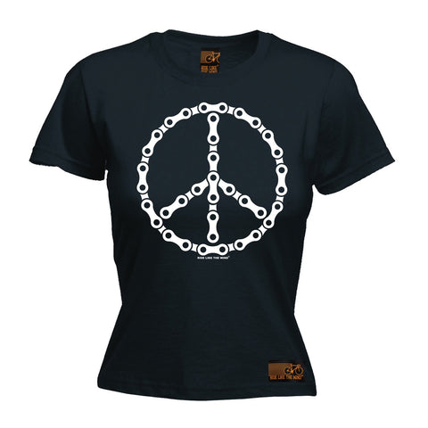 Ride Like The Wind Women's Peace Bicycle Chain Design Cycling T-Shirt