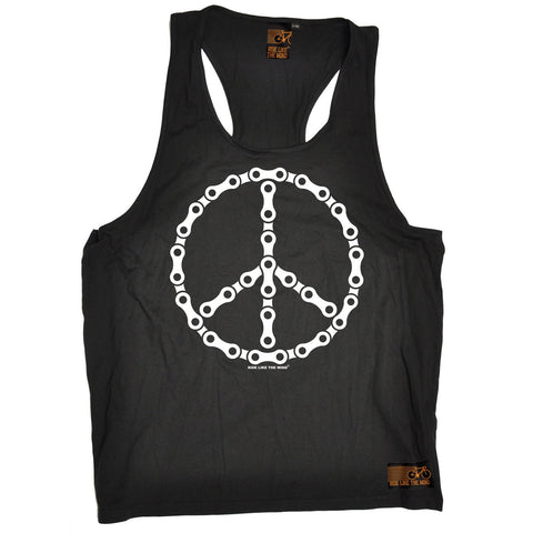 Ride Like The Wind Peace Bicycle Chain Design Cycling Men's Tank Top