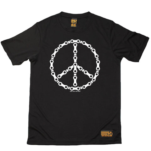 Men's RIDE LIKE THE WIND - Bike Chain Peace Sign - Premium Dry Fit Breathable Sports T-SHIRT - tee top cycling cycle bicycle jersey t shirt
