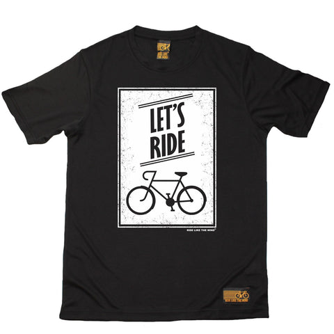 Men's RIDE LIKE THE WIND - Lets Ride - Premium Dry Fit Breathable Sports T-SHIRT - tee top cycling cycle bicycle jersey t shirt