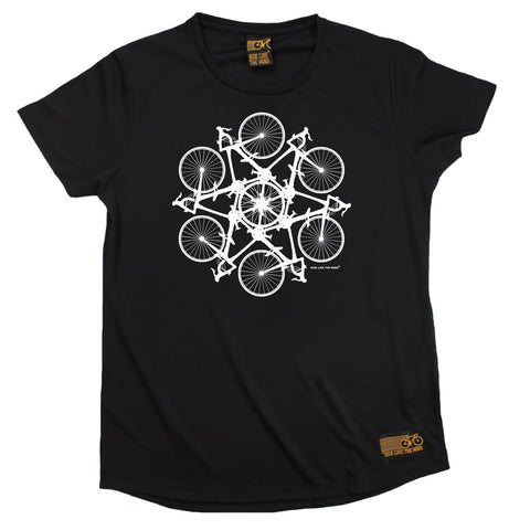 Women's RIDE LIKE THE WIND - Bicycle Kaleidoscope - Premium Dry Fit Breathable Sports ROUND NECK T-SHIRT - tee top cycling cycle bicycle jersey t shirt