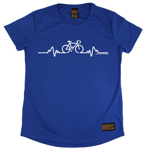 Women's RIDE LIKE THE WIND - Bicycle Pulse - Premium Dry Fit Breathable Sports ROUND NECK T-SHIRT - tee top cycling cycle bicycle jersey t shirt