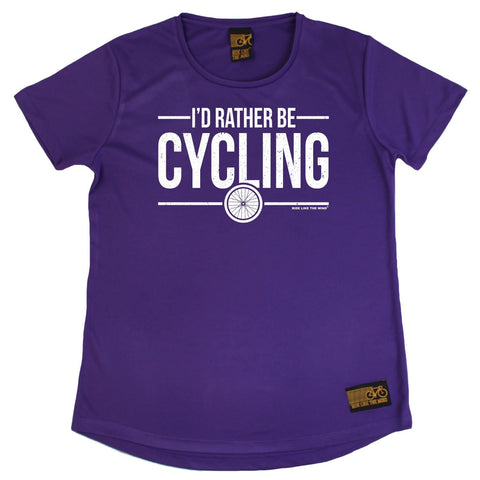 Women's RIDE LIKE THE WIND - Id Rather Be Cycling - Premium Dry Fit Breathable Sports ROUND NECK T-SHIRT - tee top cycling cycle bicycle jersey t shirt