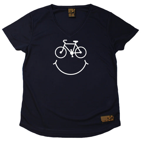 Women's RIDE LIKE THE WIND - Bicycle Smile Face - Premium Dry Fit Breathable Sports V-Neck T-SHIRT - tee top cycling cycle bicycle jersey t shirt
