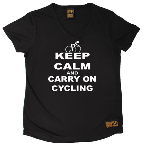 Women's RIDE LIKE THE WIND - Keep Calm And Carry On Cycling - Premium Dry Fit Breathable Sports V-Neck T-SHIRT - tee top cycling cycle bicycle jersey t shirt