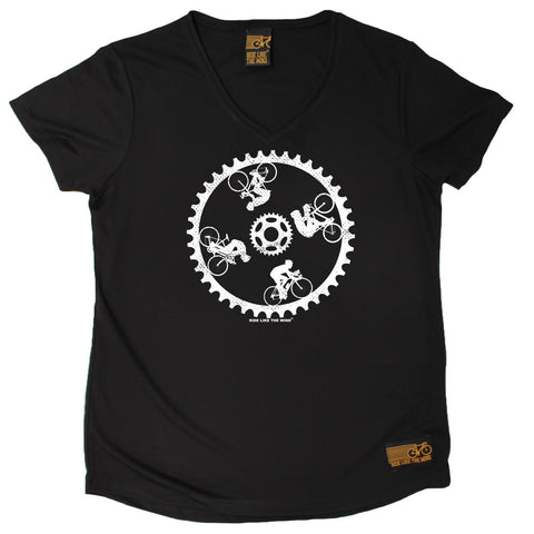 Women's RIDE LIKE THE WIND - Cycling Circle - Premium Dry Fit Breathable Sports V-Neck T-SHIRT - tee top cycling cycle bicycle jersey t shirt