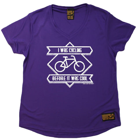 Women's RIDE LIKE THE WIND - I Was Cycling Before It Was Cool - Premium Dry Fit Breathable Sports V-Neck T-SHIRT - tee top cycling cycle bicycle jersey t shirt