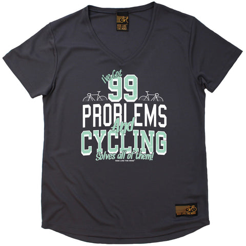 Women's RIDE LIKE THE WIND - I've Got 99 Problems And Cycling Solves All Of Them - Premium Dry Fit Breathable Sports V-Neck T-SHIRT - tee top cycling cycle bicycle jersey t shirt