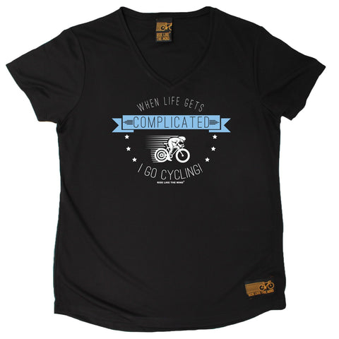 Women's RIDE LIKE THE WIND - When Life Gets Complicated I Go Cycling - Premium Dry Fit Breathable Sports V-Neck T-SHIRT - tee top cycling cycle bicycle jersey t shirt
