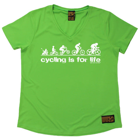 Women's RIDE LIKE THE WIND - Cycling Is For Life - Premium Dry Fit Breathable Sports V-Neck T-SHIRT - tee top cycling cycle bicycle jersey t shirt