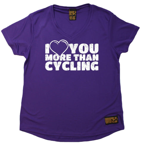 Women's RIDE LIKE THE WIND - I Love You More Than Cycling - Premium Dry Fit Breathable Sports V-Neck T-SHIRT - tee top cycling cycle bicycle jersey t shirt