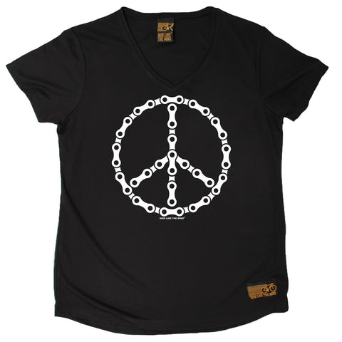 Women's RIDE LIKE THE WIND - Bike Chain Peace Sign - Premium Dry Fit Breathable Sports V-Neck T-SHIRT - tee top cycling cycle bicycle jersey t shirt