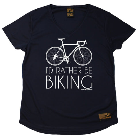 Women's RIDE LIKE THE WIND - Id Rather Be Biking - Premium Dry Fit Breathable Sports V-Neck T-SHIRT - tee top cycling cycle bicycle jersey t shirt