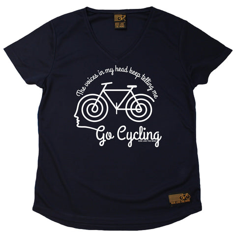Women's RIDE LIKE THE WIND - The Voices In My Head Keep Telling Me To Go Cycling - Premium Dry Fit Breathable Sports V-Neck T-SHIRT - tee top cycling cycle bicycle jersey t shirt