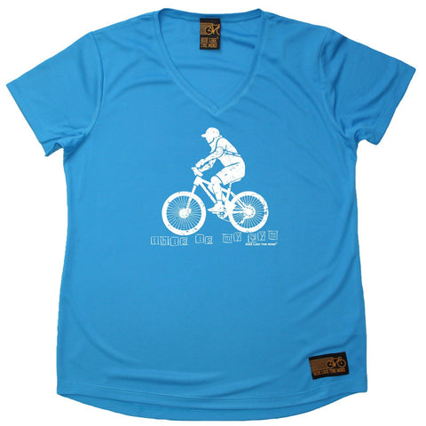 Women's RIDE LIKE THE WIND - This Is My Gym - Premium Dry Fit Breathable Sports V-Neck T-SHIRT - tee top cycling cycle bicycle jersey t shirt