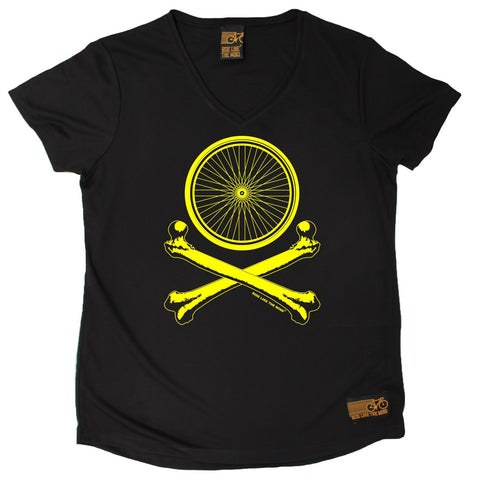 Women's RIDE LIKE THE WIND - Bicycle Wheel Cross Bones - Premium Dry Fit Breathable Sports V-Neck T-SHIRT - tee top cycling cycle bicycle jersey t shirt