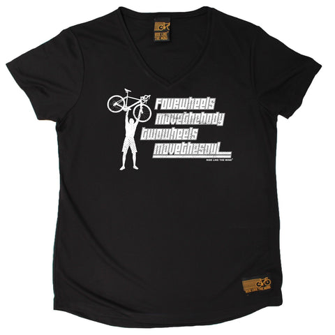 Women's RIDE LIKE THE WIND - Two Wheels Move The Soul - Premium Dry Fit Breathable Sports V-Neck T-SHIRT - tee top cycling cycle bicycle jersey t shirt