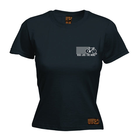 Ride Like The Wind Women's Breast Pocket Brand Design Cycling T-Shirt