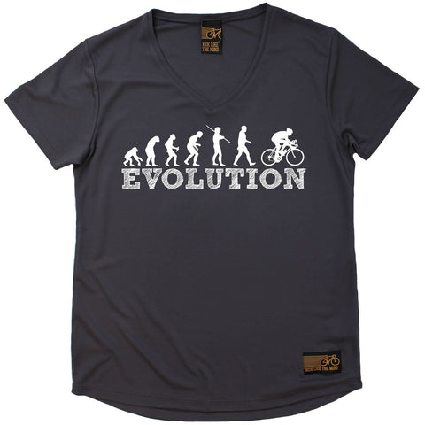 Women's RIDE LIKE THE WIND - Bicycle Evolution - Premium Dry Fit Breathable Sports V-Neck T-SHIRT - tee top cycling cycle bicycle jersey t shirt