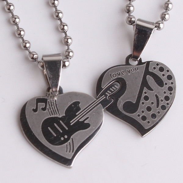Music is Love Couples Necklaces