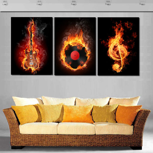Burning Records Artistic Canvas Painting