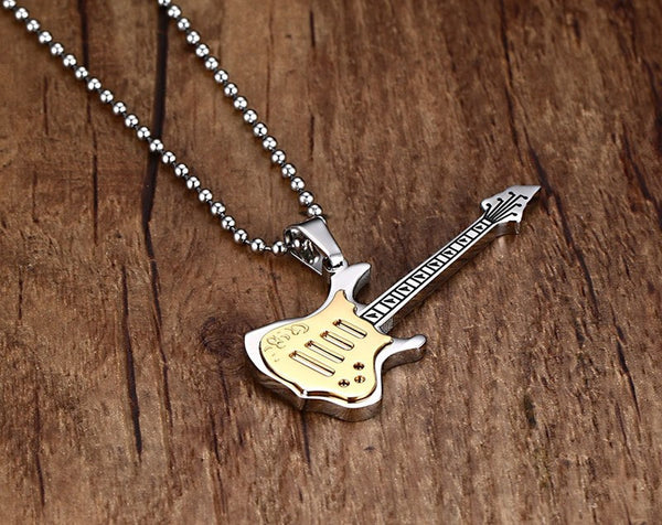 Electric Guitar Stainless Steel Necklace - Muse Raven - Dream Out Loud