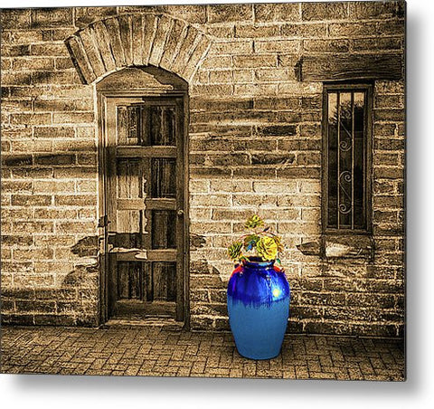 Blue Pot and Wall Metal Print