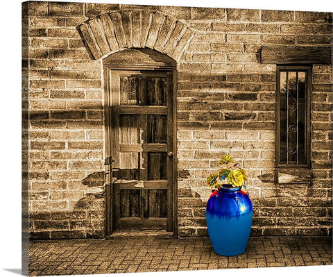 Blue Pot and Wall Canvas