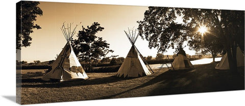 Four Teepees Panoramic Canvas