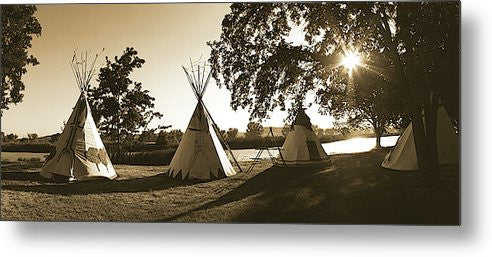 Four Teepees Panoramic Metal Print