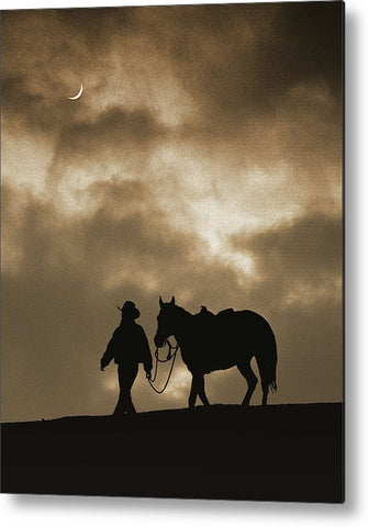 Long Walk Home Sepia Metal Print