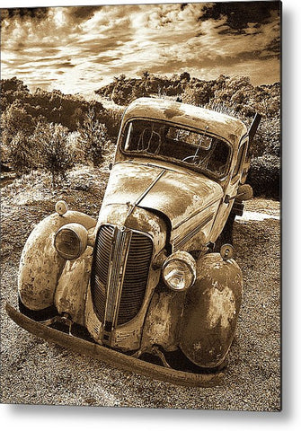 Old Warrior Sepia Metal Print