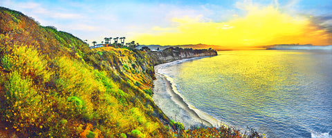Point Dume, Malibu and Paddleboarders Panoramic Metal Print