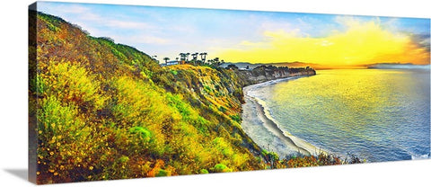 Point Dume, Malibu and Paddleboarders Panoramic Canvas