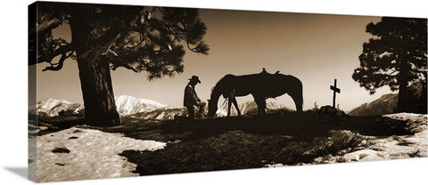 Say Goodnight Sepia Panoramic Canvas