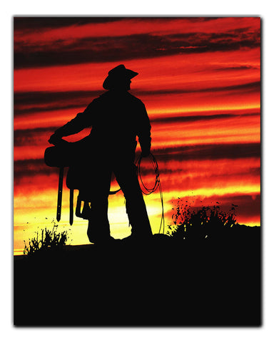 Sunrise Cowboy Metal Print