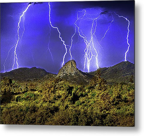 Thumb Butte Lightning Metal Print