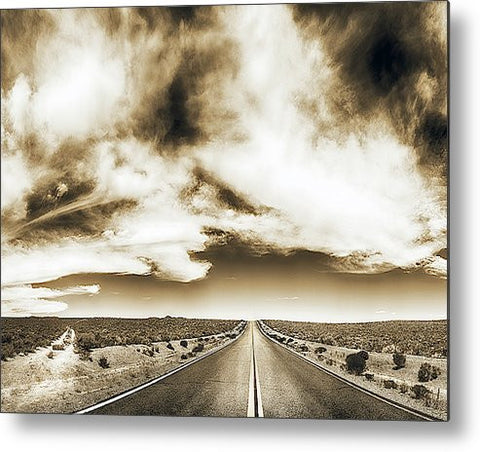 Which Road to Take Sepia Metal Print