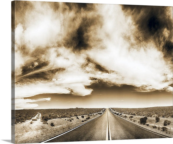 Which Road to Take Sepia Canvas
