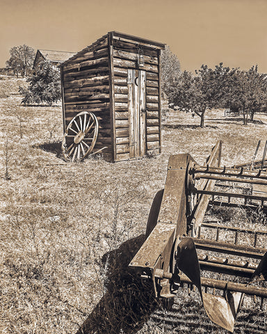 Angels Camp Outhouse Sepia Metal Print