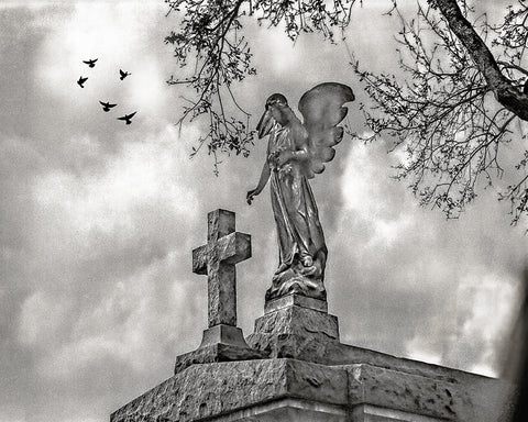 Angel and Cross Sepia, New Orleans Standard Art Print