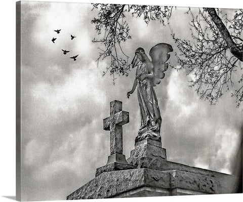 Angel and Cross Sepia, New Orleans Canvas