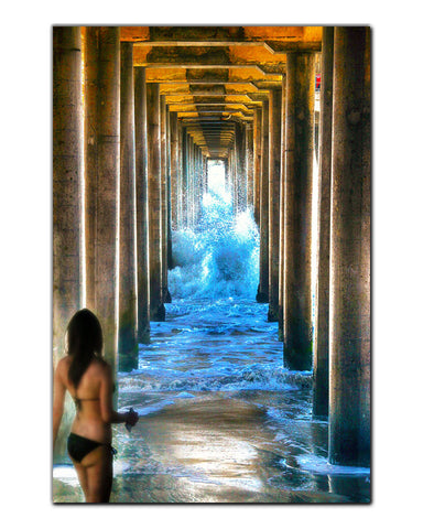 Bikini, Lifeguard, and Pier Metal Print