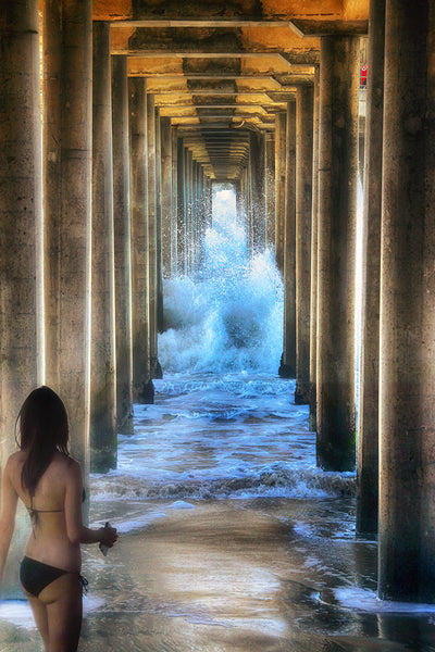 Bikini, Lifeguard and Pier Standard Art Print