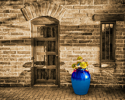 Blue Pot and Wall, Tubac, Arizona