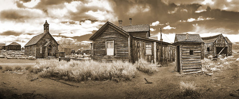 Bodie Ghost Town Sepia, Panoramic Metal Print