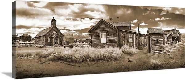 Bodie Ghost Town Sepia Panoramic Canvas